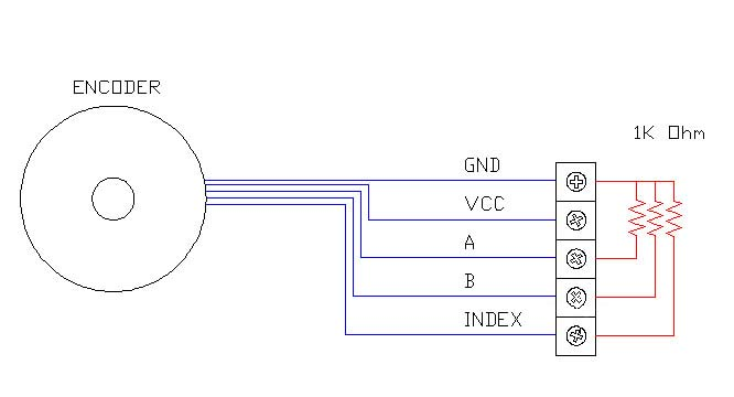 SE-Termination, Pictorial example of how to add termination resistors to an incremental encoder that is set up Single ended  (TTL).