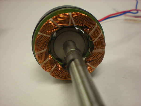 Brushless Motor: Windings on stator, magnets on rotor