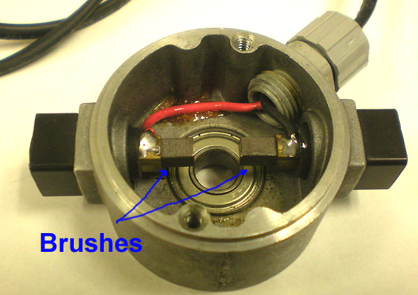 showing motor brushes with rotor removed in a brush motor