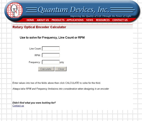 Encoder RPM-Frequency-Resolution Calculator