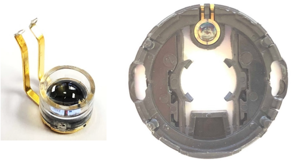 In this case, the Competitor uses a traditional transmissive optical encoder design. Showing plastic LED housing and its location in the encoder base